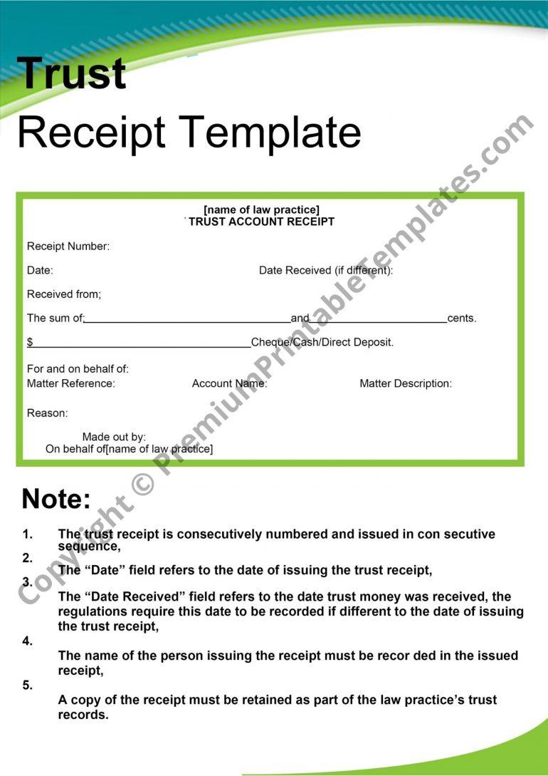 printable trust receipt
