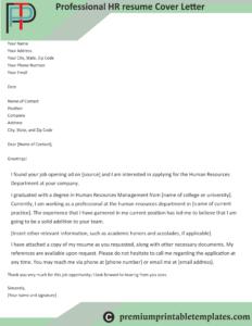 professional hr resume