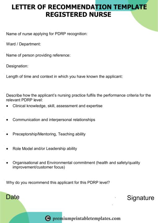 recommendation letter nurse registered