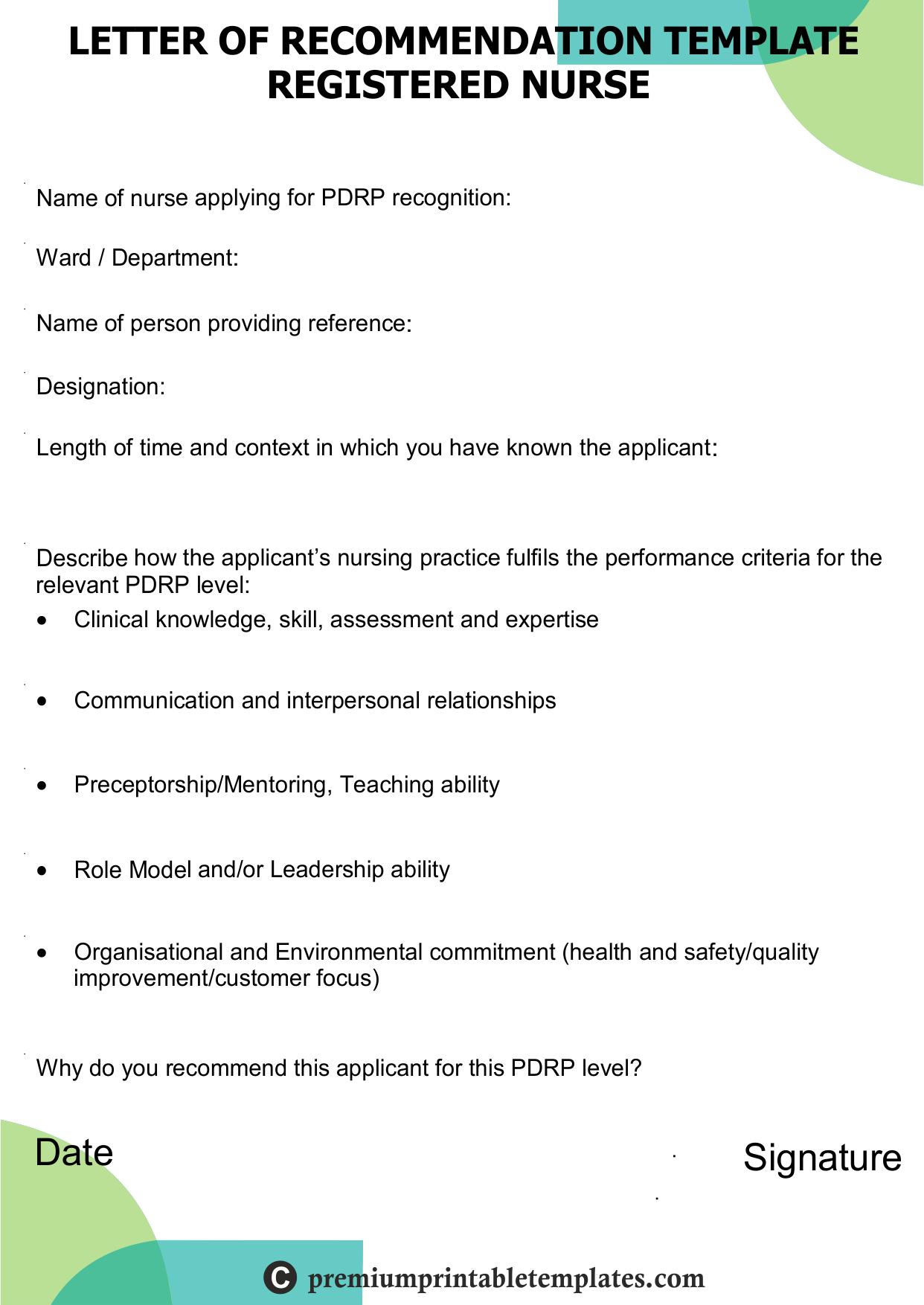 recommendation letter for registered nurse templates