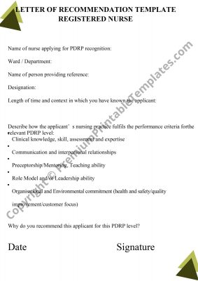 recommendation letter for nurse pdf