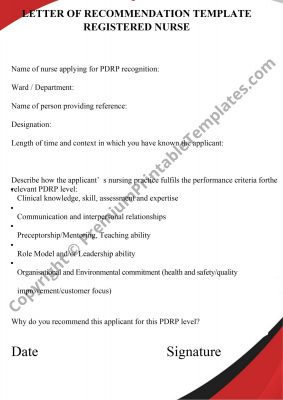 recommendation letter for nurse template