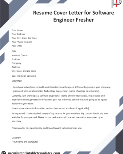 resume cover letter for software engineer