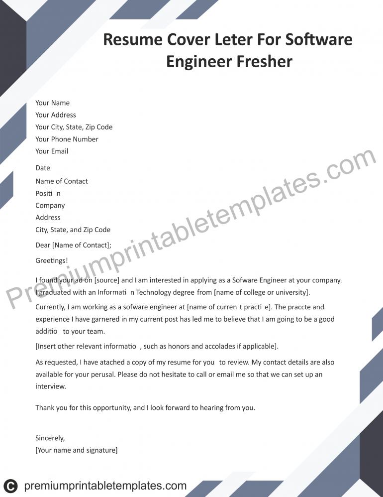 resume cover letter for software engineer fresher