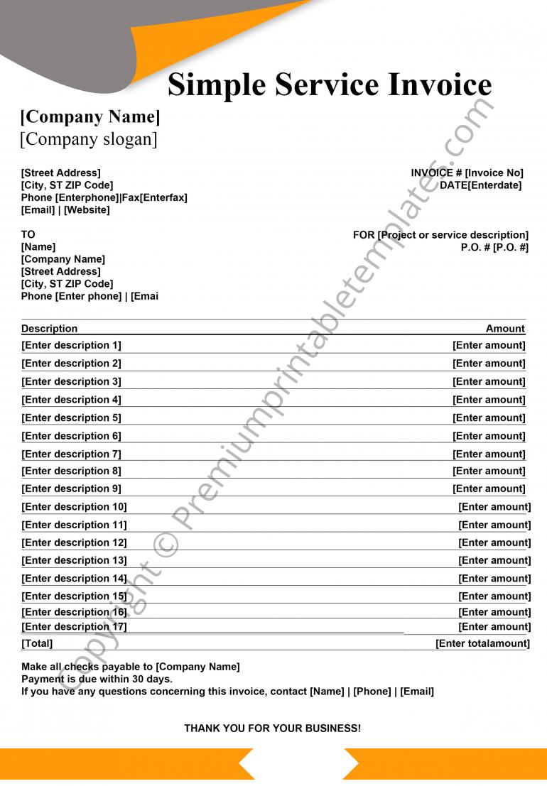 simple service invoice pdf