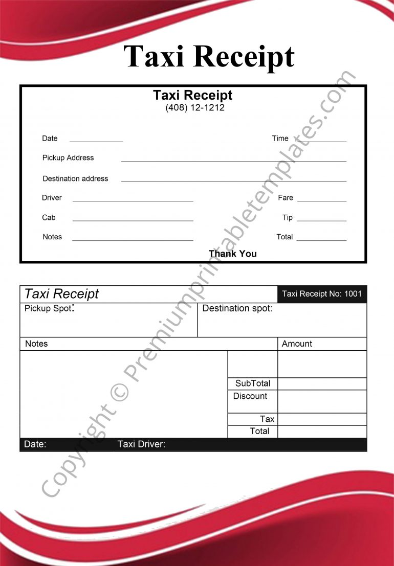 taxi receipt format