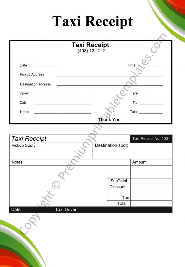 taxi receipt pdf