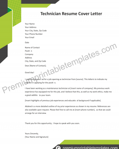 technician resume cover letter