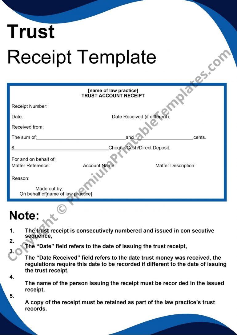 trust receipt template