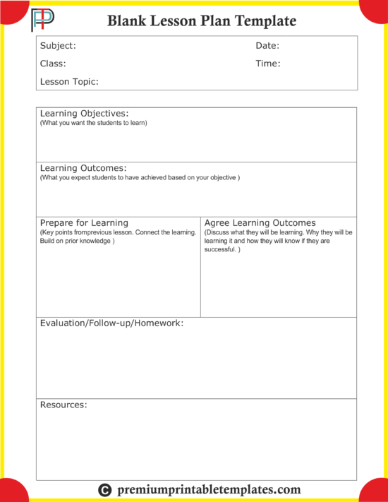 Blank Lesson Plan Templates