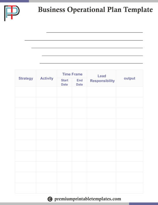 Business operational plan templates premium printable templates business operational plan templates accmission