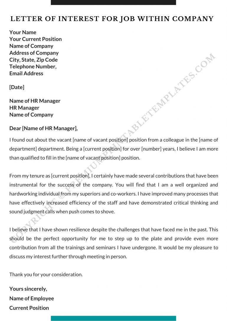 Letter of Interest For Job within company
