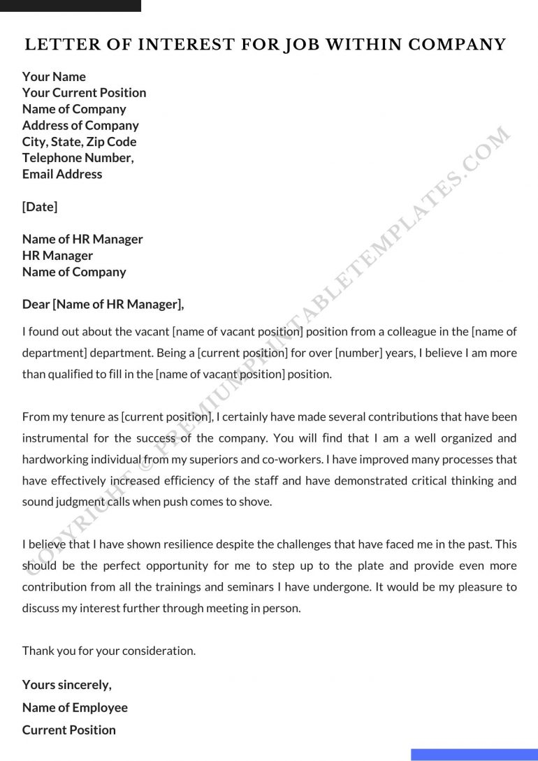 Letter of Interest For Job within company Template