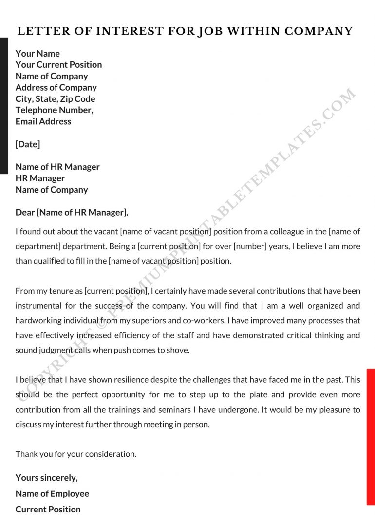 Letter of Interest For Job within company pdf