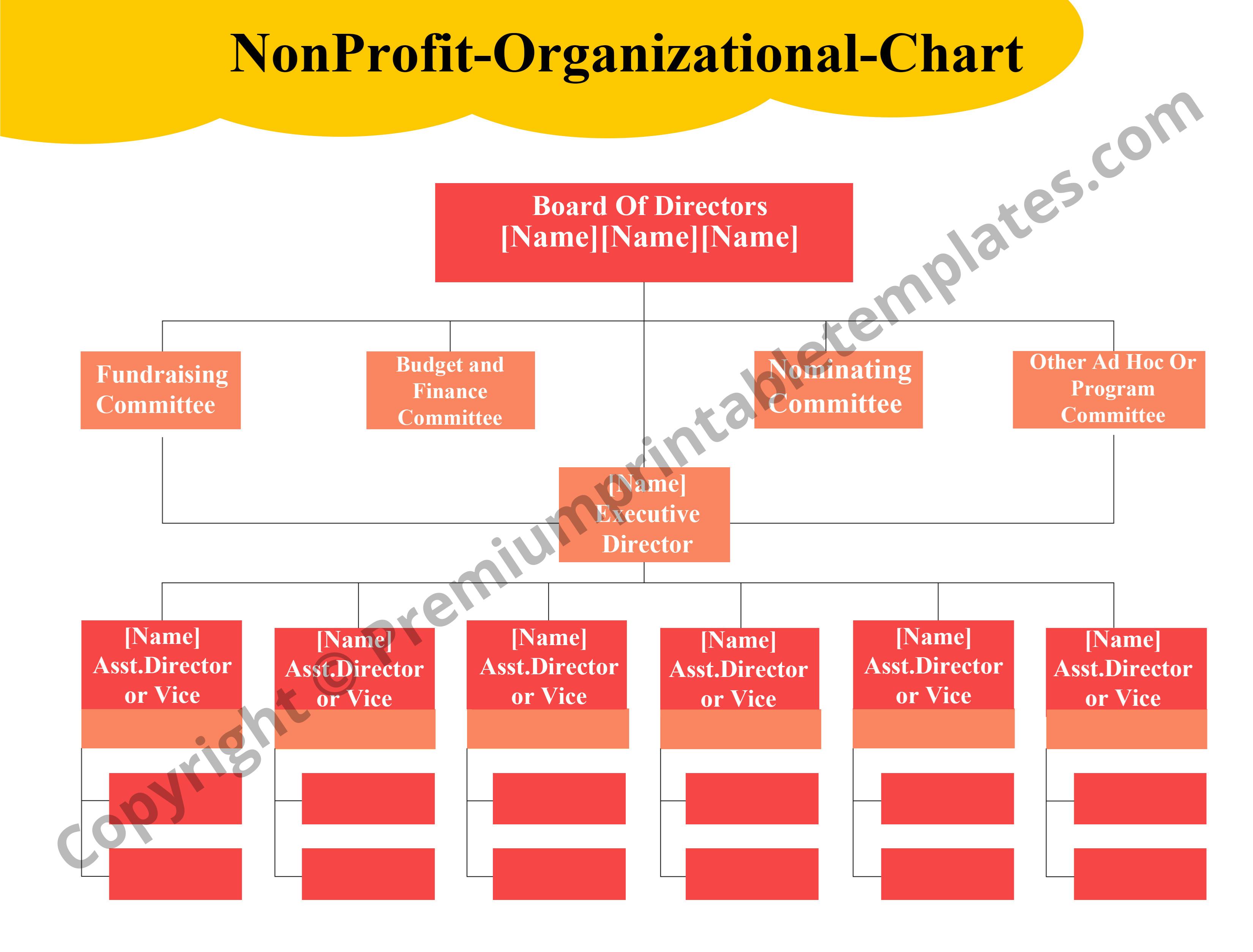 Non Profit Organizational Chart Pack Of 5 Premium Printable Templates