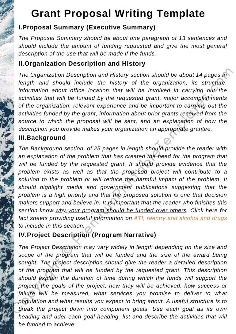 Printable Grant Proposal Writing Template