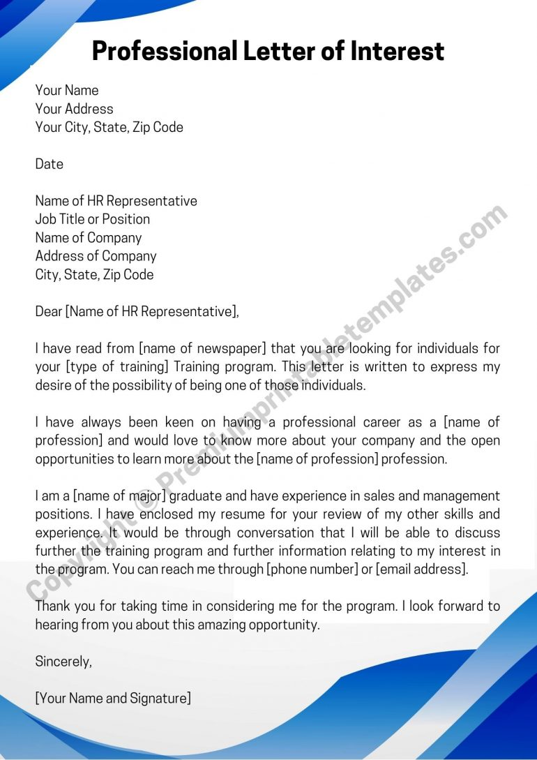 Printable Professional Letter of Interest