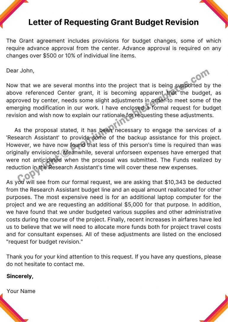 Printable letter for Requesting Grant Budget Revision