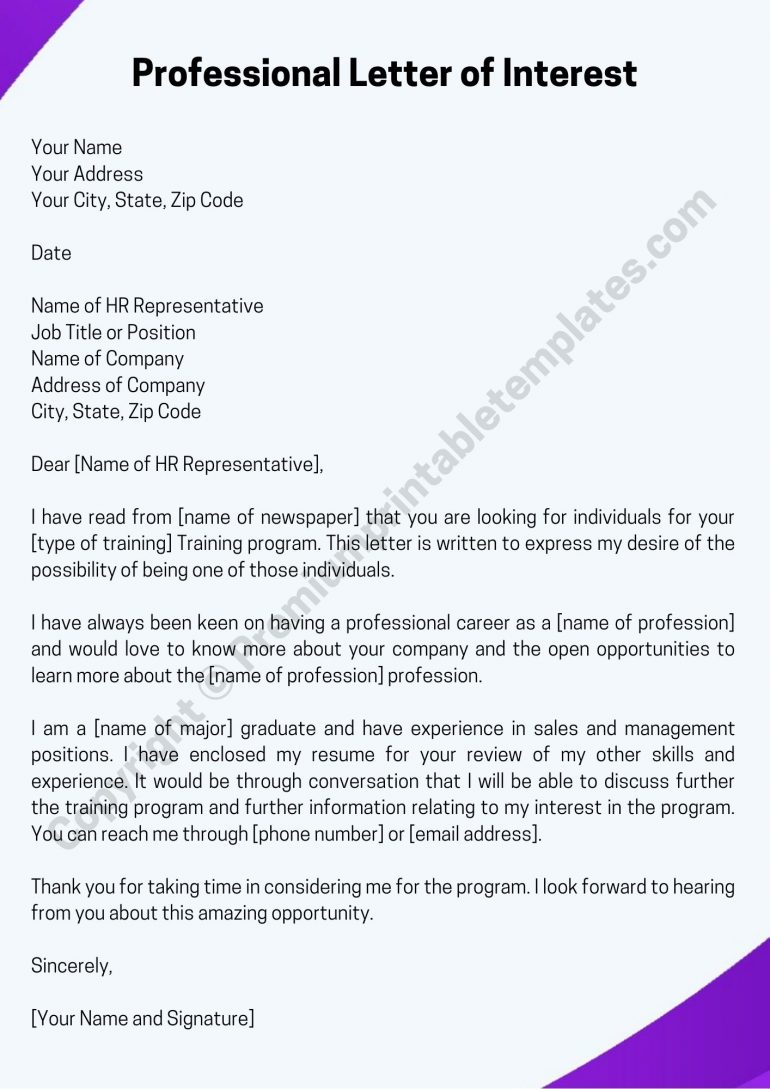 Professional Letter of Interest