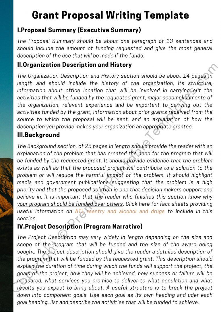 Sample Grant Proposal Writing Template