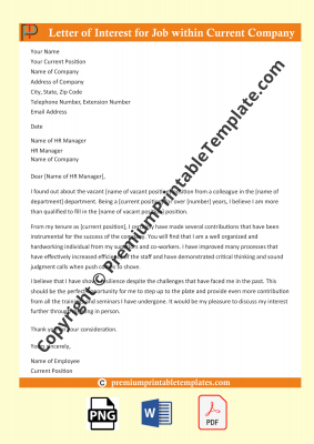 letter for intent for job within company