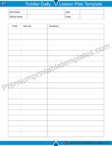 Toddler Daily Lesson Plan Template
