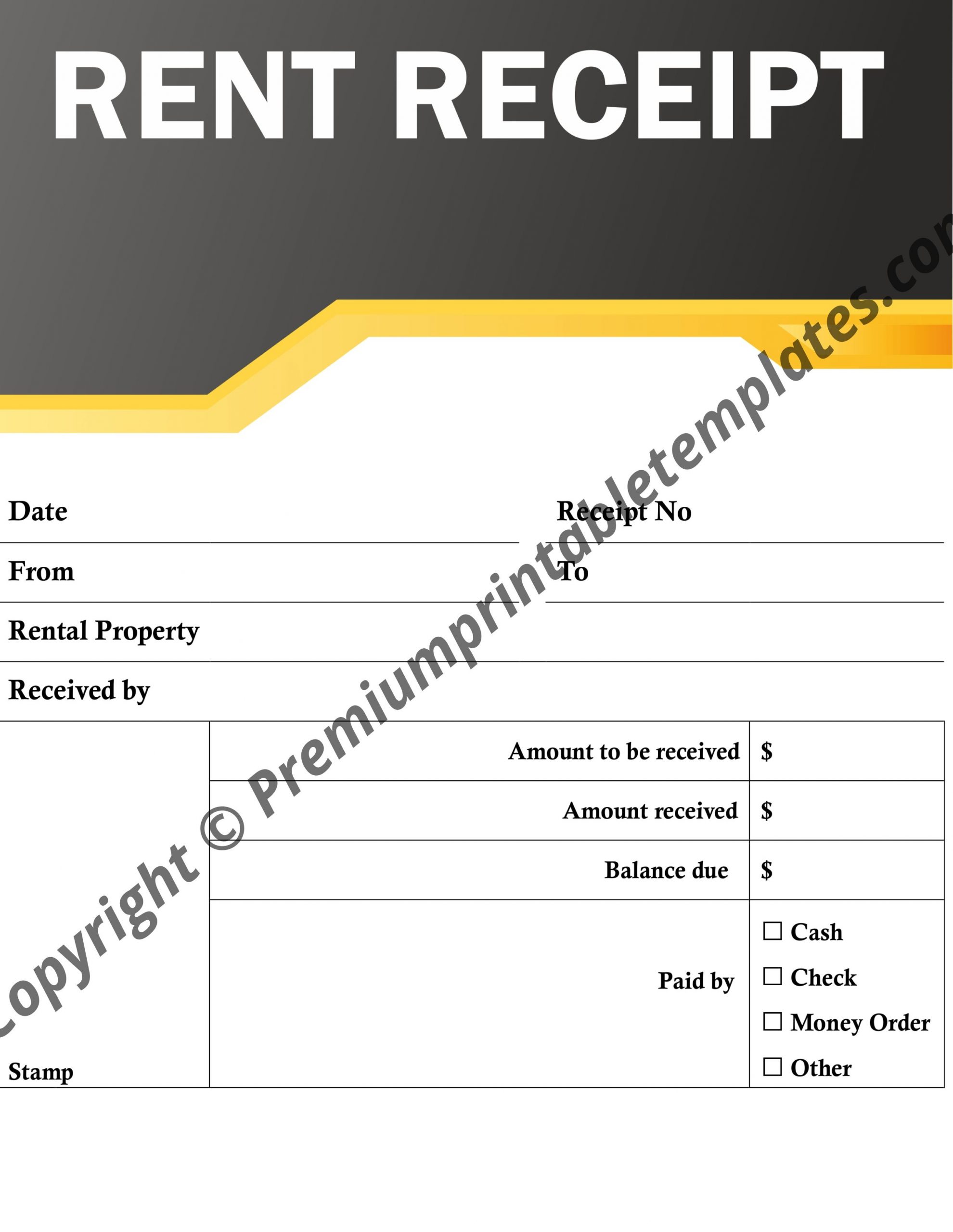 It's just a picture of Printable Rent Receipt Template for house rent