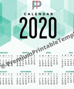 2020 Yearly Printable calendar