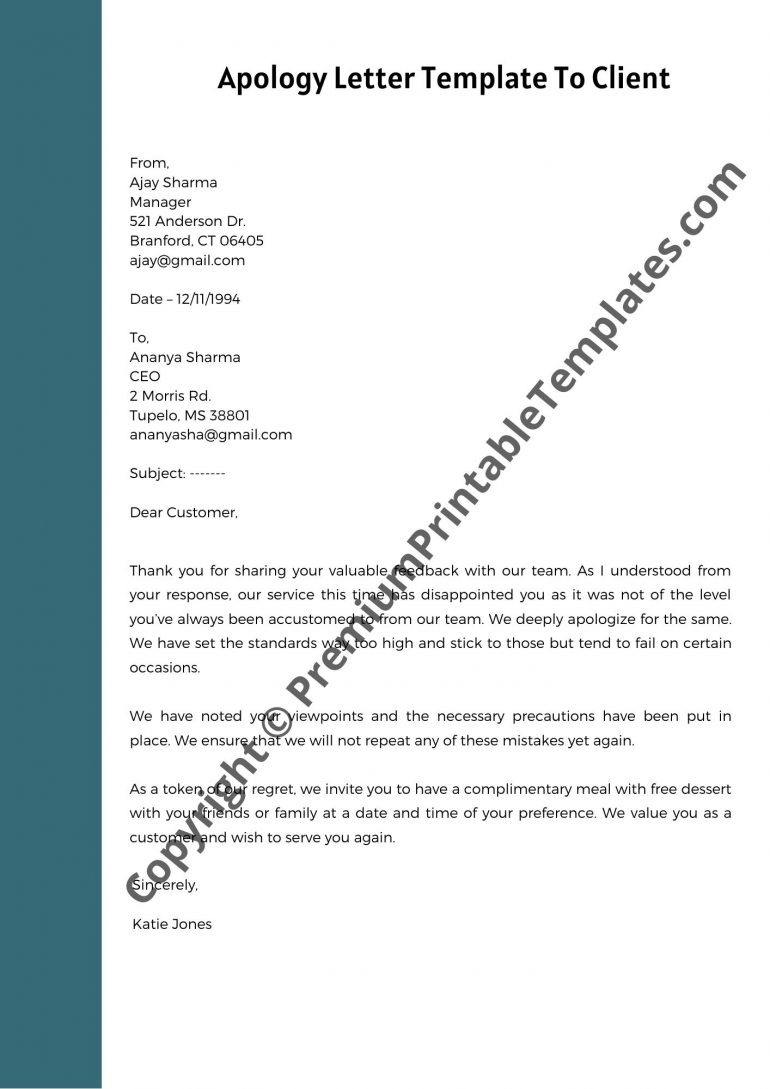 Apology Letter Template To Client