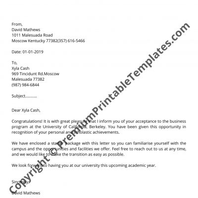 College Admission Letter Sample from premiumprintabletemplates.com