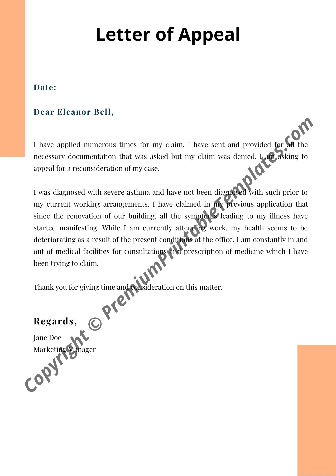 Letter Of Appeal Sample from premiumprintabletemplates.com