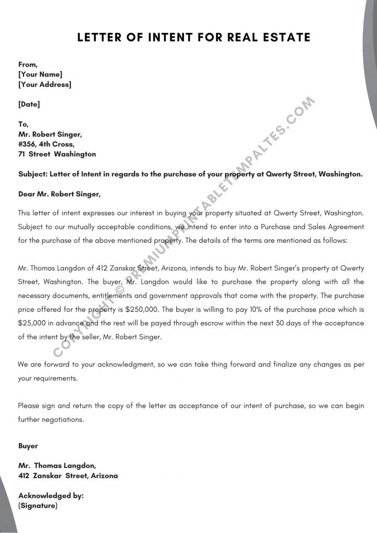 Letter of Intent for Real Estate PDF