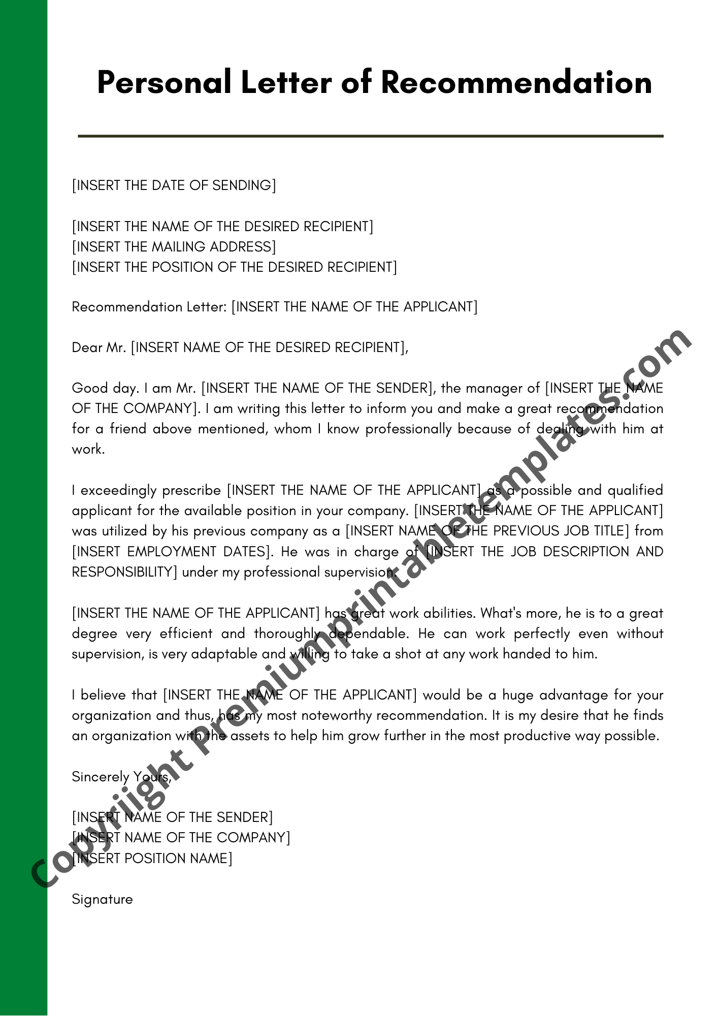 Personal Letter Of Recommendation from premiumprintabletemplates.com