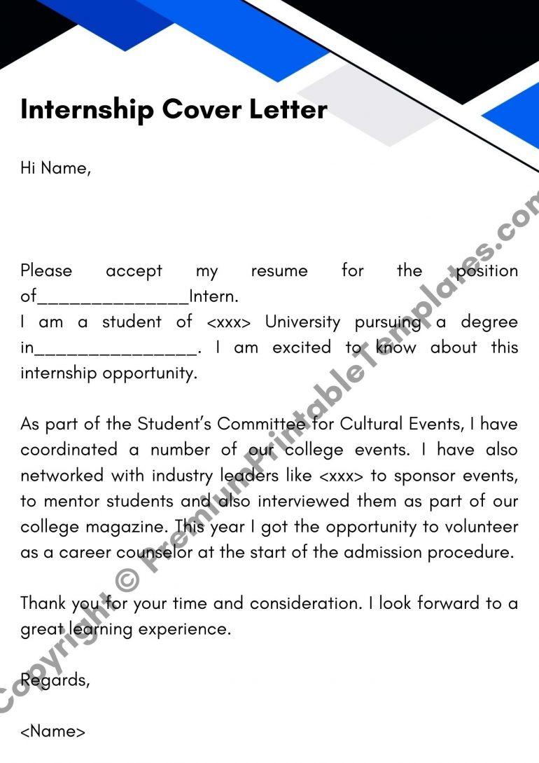 Printable Internship Cover Letter