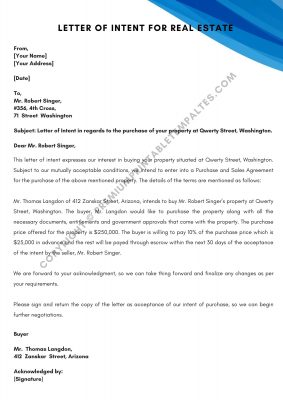 Printable Letter of Intent for Real Estate