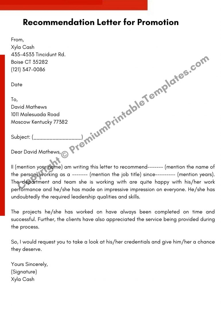 Printable Recommendation Letter for Promotion
