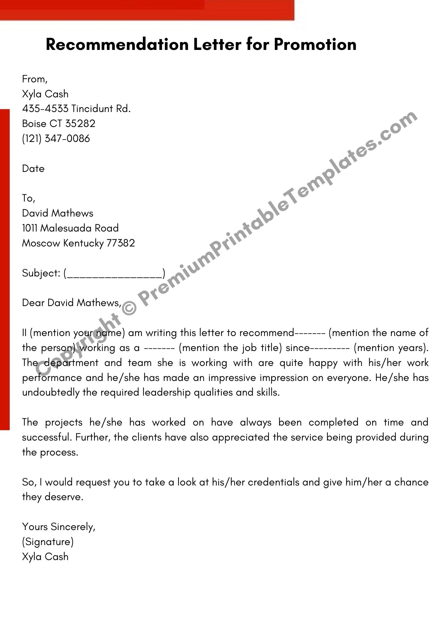 What Does A Recommendation Letter Look Like from premiumprintabletemplates.com