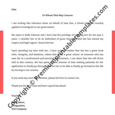 Recommendation Letter Sample For Coworker from premiumprintabletemplates.com