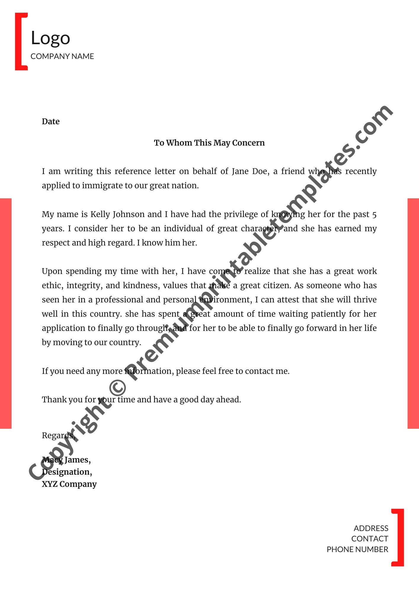 Writing A Character Reference Letter from premiumprintabletemplates.com