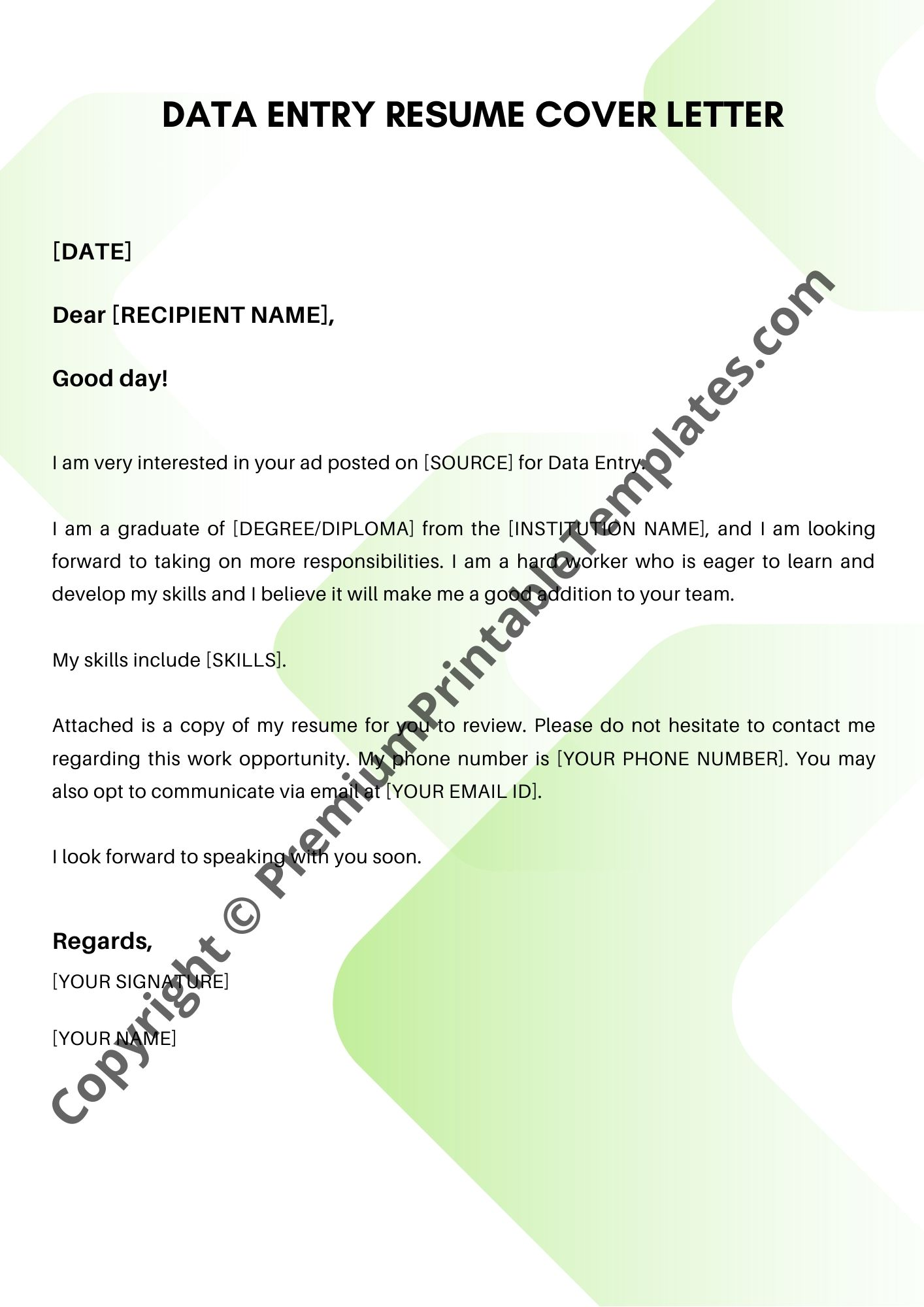 Simple Cover Letter Data Entry Resume Cover Letter Premium