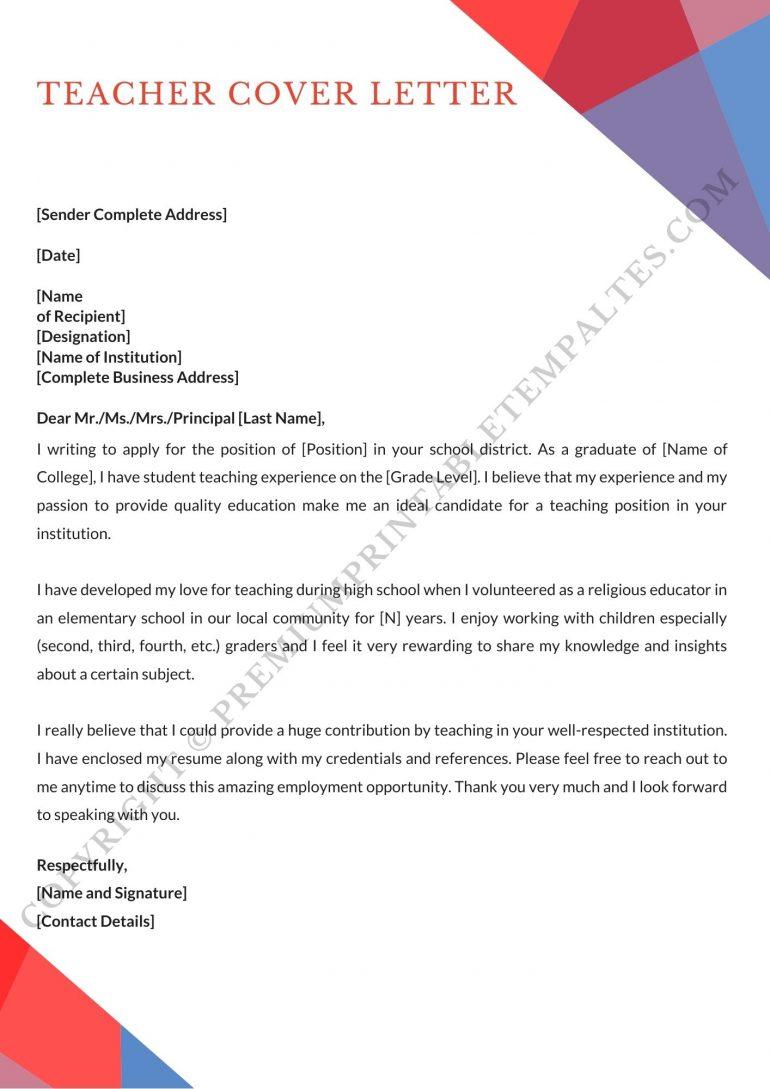 Teacher Cover Letter Download