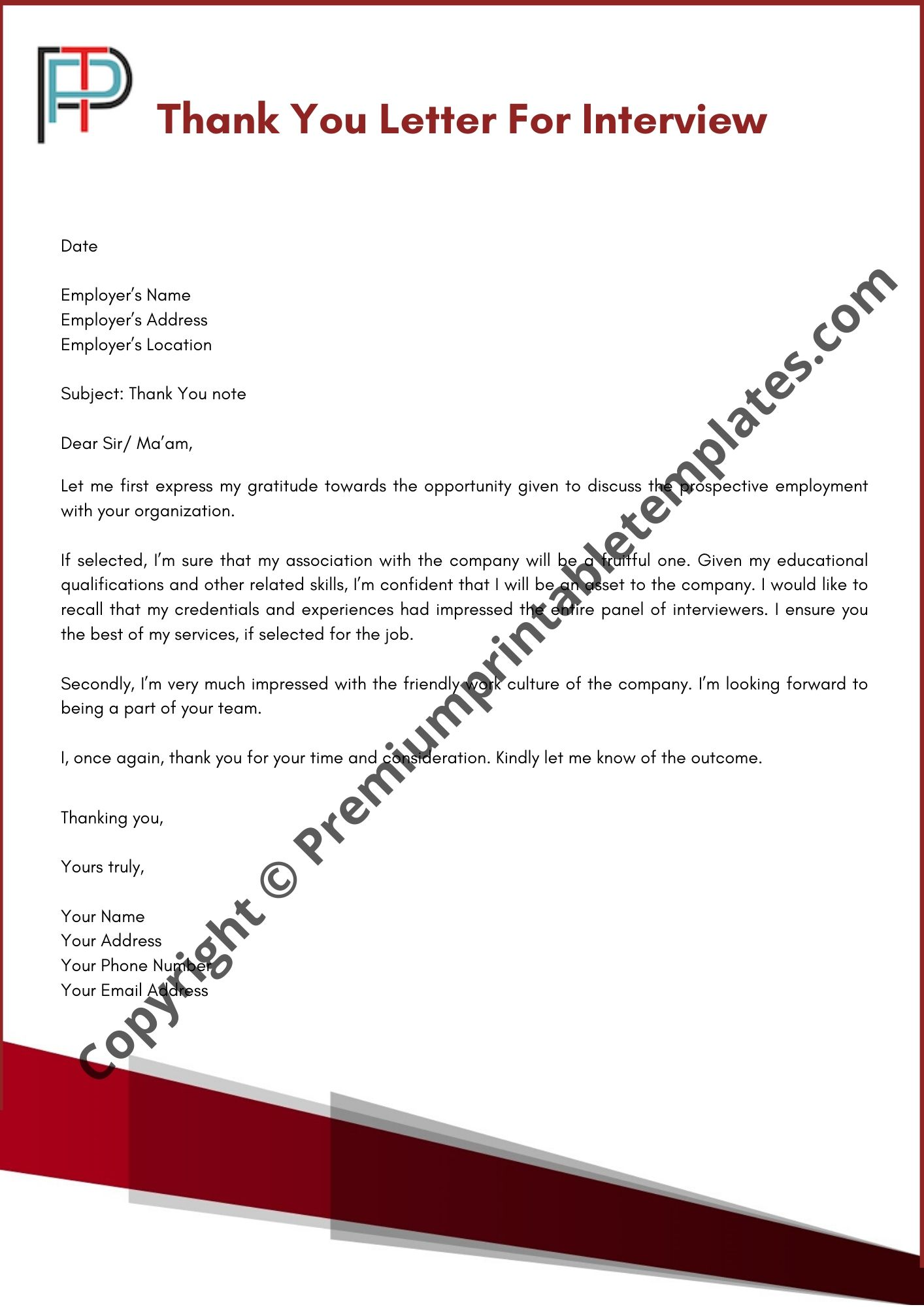 The Best Thank You Letter from premiumprintabletemplates.com