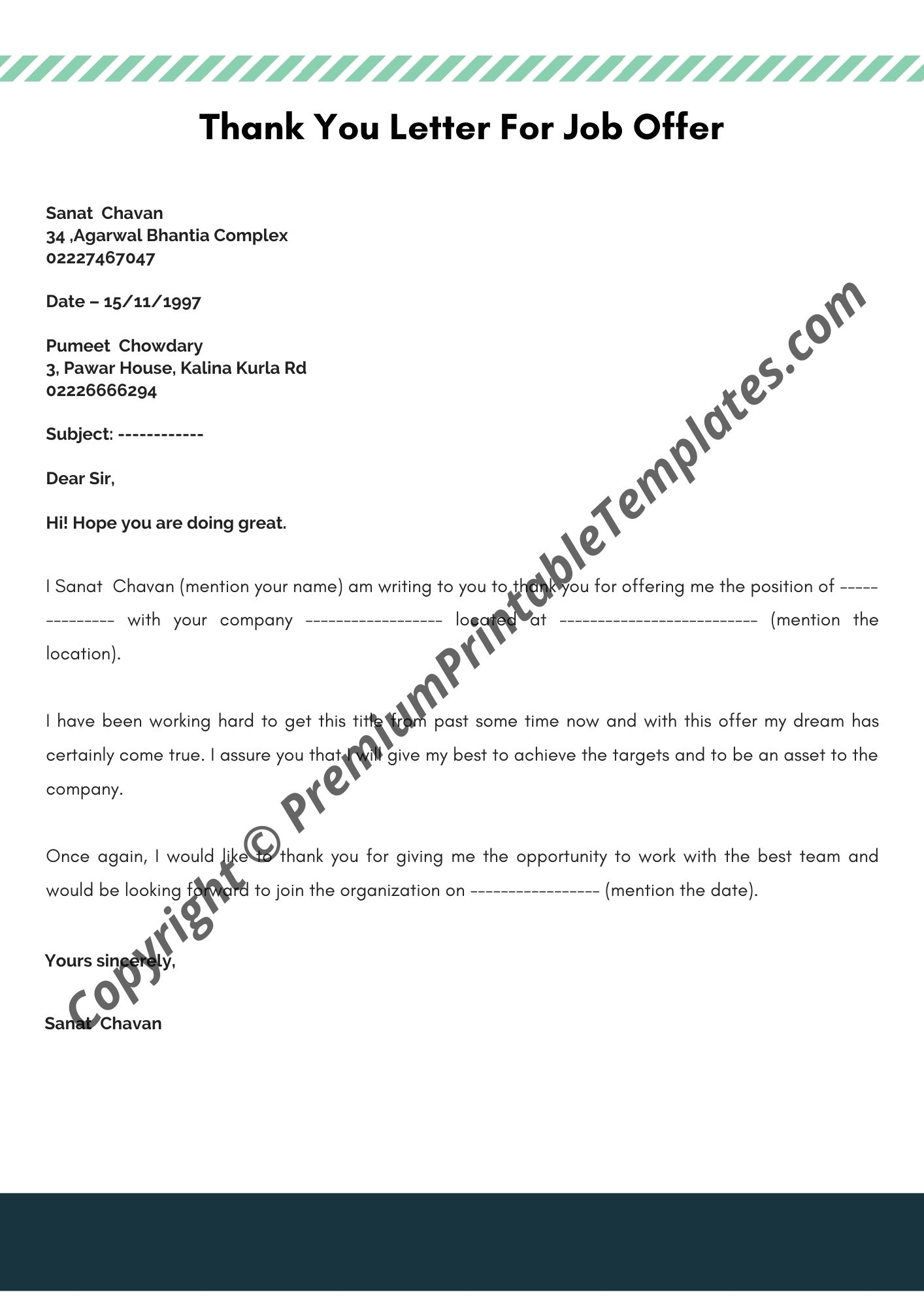 Thank You Letter For Job from premiumprintabletemplates.com