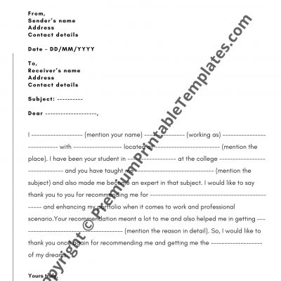 Thank You Email For Recommendation Letter from premiumprintabletemplates.com