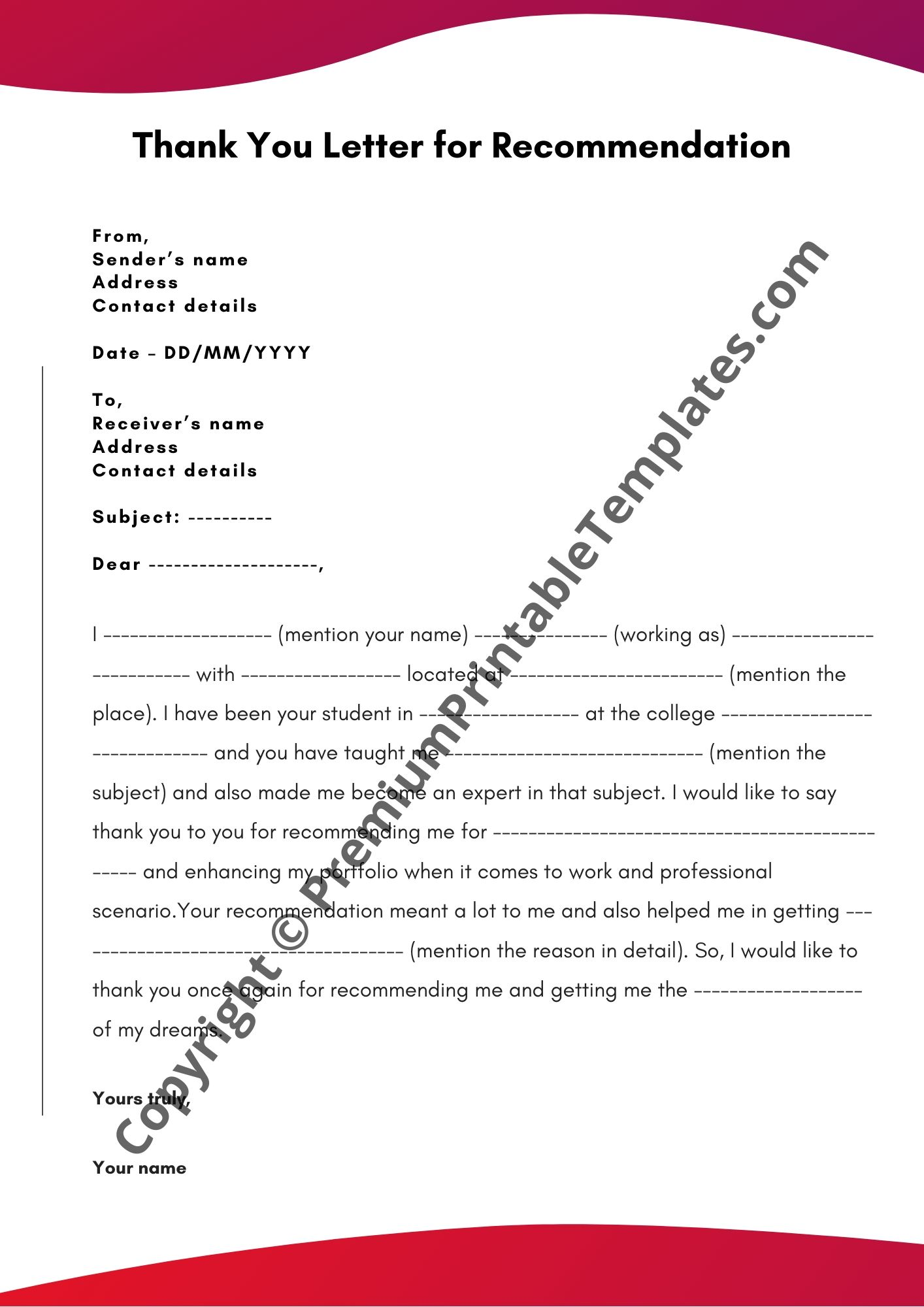 Thank You Letter For Letter Of Recommendation from premiumprintabletemplates.com