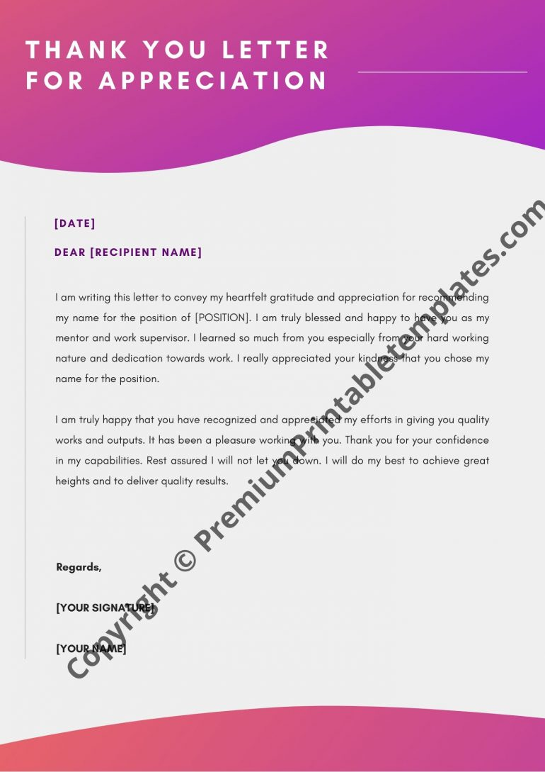 Thank you letter for appreciation