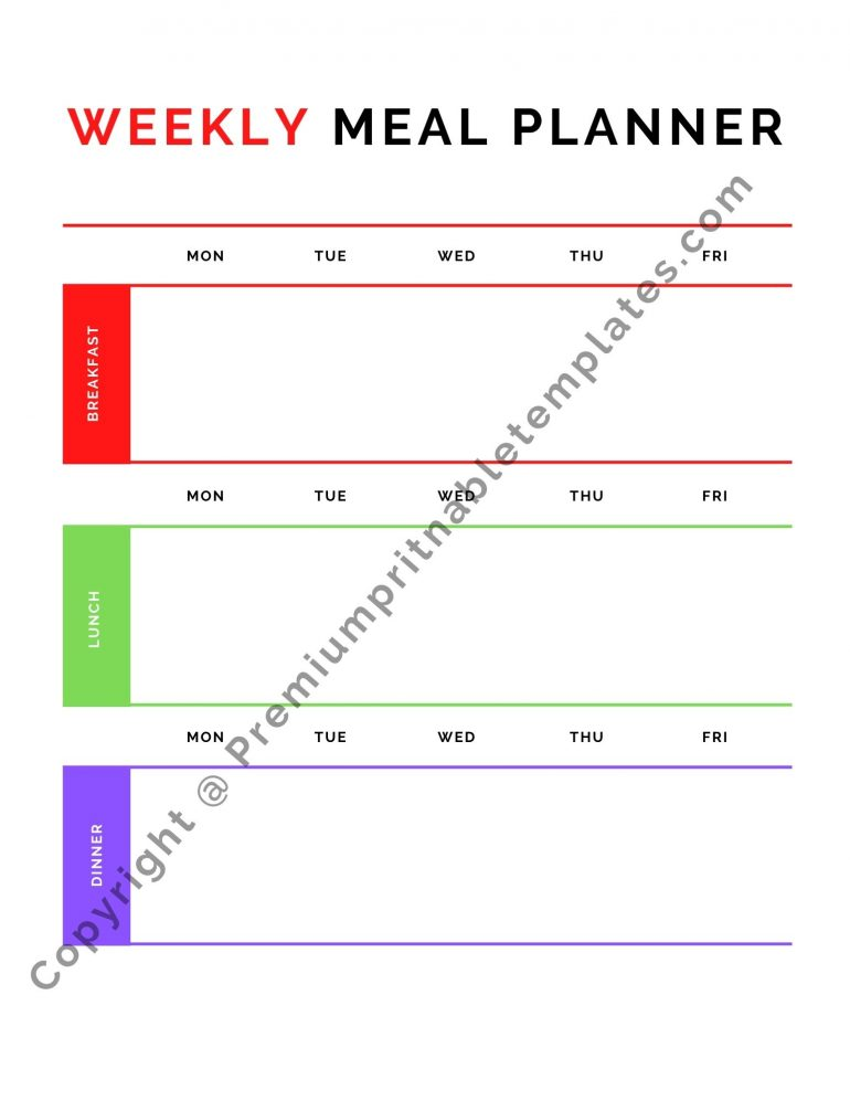 Weekly Meal Planner Template Download