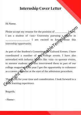 cover letter for internship