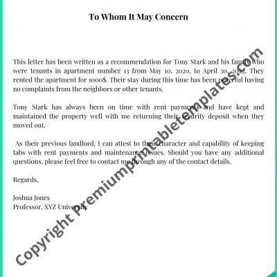 landlord reference letter