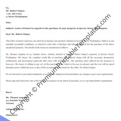 letter of intent real estate